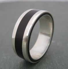 Silver ring with black stripe $189