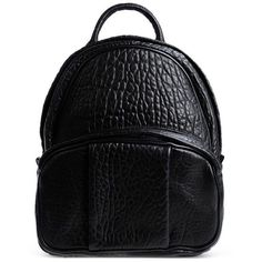 Alexander Wang Black Leather Dumbo Backpack (15.155.480 IDR) ❤ liked on Polyvore featuring bags, backpacks, black, black leather backpack, black studded bag, leather backpack, leather bags and black backpack