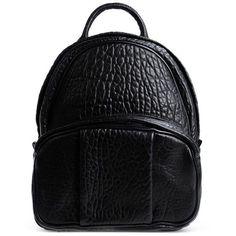 Alexander Wang Black Leather Dumbo Backpack (3 960 PLN) ❤ liked on Polyvore featuring bags, backpacks, black, shoulder strap backpack, black studded backpack, black leather knapsack, black leather rucksack and leather knapsack
