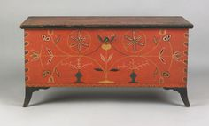 Vibrant Centre County, Pennsylvania painted dower chest, early 19th c. 25H x 48W
