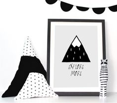 This amazing mountain print will give any room a modern look! Put it together with our mountain banner (link below) and create an outstanding matching set for any nursery or kids room.  The print has a light grey background and the lettering holes are left white. Just exactly as it looks.  This listing is only for an INSTANT DOWNLOAD printable wall art. You wont receive any physical items.  You will receive:  1 PDF file 5x7 1 PDF file 8x10 1 High resolution (300 dpi) JPG file 8x10 that can…