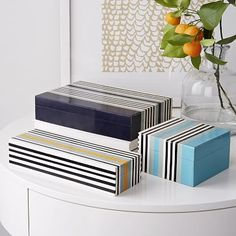 Surf Boxes: Hand-inlaid wood tiles with a resin finish. #westelm #India