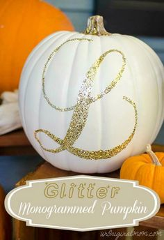 Glittered pumpkins with your new initial! Or use table numbers instead for your fall wedding centerpiece, too!  ~  we ❤ this! moncheribridals.com