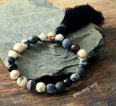 Yoga Tassel Bracelet, Mala Yoga Bracelet, Gemstone Bracelet, Yoga Chakra Jewelry,Yoga Bracelet, Beads Black Network Mala Bracelet,Mans,Mens by BadDog1976 on Etsy