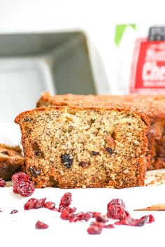 Banana berry bread  Ingredients 5.75 ounces dried mixed berries, I used a combination of Stoneridge Orchards' dried blueberries, cherries and cranberries ⅓ cup (2.75 ounces) orange juice 2 cups (10 ounces) all purpose flour 1½ teaspoons (.25 ounces) baking soda ½ teaspoon (.10 ounces) salt 12 tablespoons unsalted butter 1¼ cups (9.50 ounces) sugar 3 ripe bananas 2 eggs ⅓ cup (3.45 ounces) sour cream 1 teaspoon (.10 ounces) vanilla extract from dessertsrequired.com