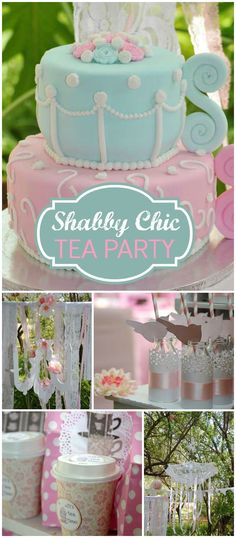 Such a lovely and elegant high tea birthday party! Lots of beautiful shabby chic decorations and treats! See more party planning ideas at CatchMyParty.com! #shabbychic #PartyIdeas party food drink ideas #summer