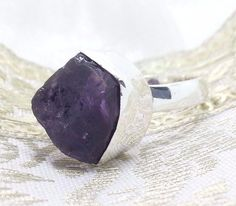 925 Sterling Silver & Rough Amethyst Statement Ring (+Gift Bag) UK Size L1/2