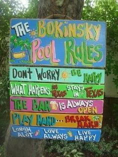 TROPICAL POOL RULES SIGNS SILLY POOL RULES PLAQUES BEACH RULES #beachsignstropical #outdoorbeachsigns