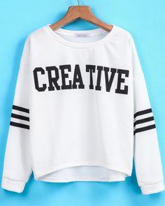 White Long Sleeve CREATIVE Print Sweatshirt - Sheinside.com