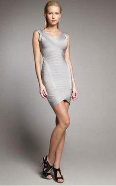 67d06a5b58a45 Herve Leger Crisscross Silver Opening Back Bandage Dress