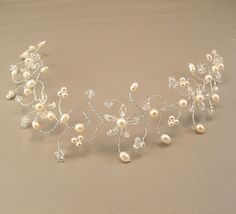 Crystal Blossoms with Freshwater Pearls Wedding Hair Vine Tiara - Wedding Hair Accessories. $58.00, via Etsy.