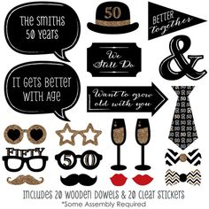 photo booth props - https://www.etsy.com/listing/239674968/50th-anniversary-20-piece-anniversary