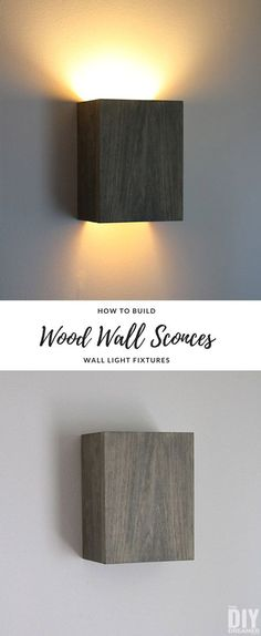 How to Build Wall Light Fixtures: DIY Wood Wall Sconces How to build wall light fixtures. An easy DIY Project that will result in beautiful custom-built Wall Sconces. Diy Luminaire, Luminaire Mural, Indoor Wall Sconces, Rustic Wall Sconces, Black Wall Sconce, Bronze Wall Sconce, Copper Wall, Modern Wall Sconces, Candle Wall Sconces