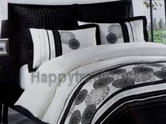 Cream Black Embroidered* 5pc KING Sz Quilt Doona Cover Set , 2 Euro Pillowcases $118.90