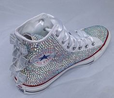 White High Top Sequin Bow Sparkled AB Rhinestone Crystal Converse Wedding Prom Source by heleenjvn Converse Shoes On Sale, Cute Converse, Converse Wedding Shoes, Prom Shoes, Converse Sneakers, Best Sneakers, High Top Sneakers, Converse Chuck, Kids Converse