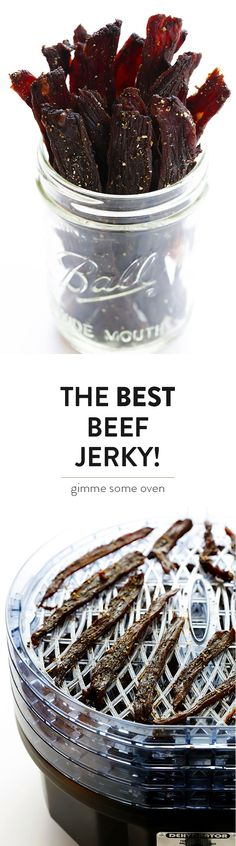 Seriously The BEST Beef Jerky Recipe -- easy to make at home, nice and savory and peppery, and SO delicious! | gimmesomeoven.com