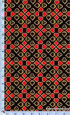 Casino Royale - Card Suits on Black - Casino, Elkabee's Fabric Paradise.com, LLC