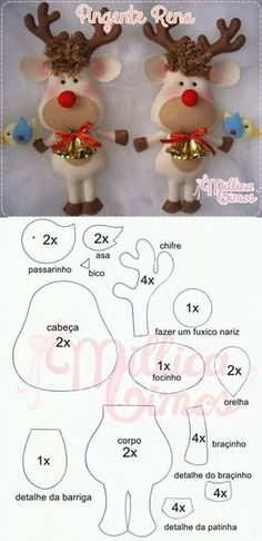 100 Enfeites de Natal em Feltro com Moldes Aprenda+ - Nähen - Christmas Ornament Template, Sewn Christmas Ornaments, Felt Christmas Decorations, Christmas Templates, Christmas Sewing, Felt Ornaments, Christmas Art, Christmas Projects, Christmas Embroidery