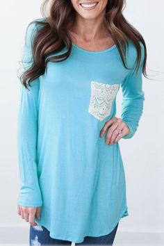 This long sleeve t will work in pink or grey with contrasting lace on the pocket. Black or ivory lace.