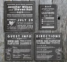 Unique Wedding Invitation - Chalkboard Wedding Invitation, RSVP, Directions Card, and Guest Information Card for print