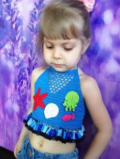 Starfish octopus shell crochet top/ Sea crochet baby toddler top/ Crochet bikini top/ Honolulu/ Crochet cover up toddler/ Beach cover up by ElenaVorobey on Etsy Crochet Toddler, Baby Girl Crochet, Cute Crochet, Crochet For Kids, Crochet Top, Crochet Halter Tops, Crochet Bikini Top, Toddler Beach, Toddler Girl