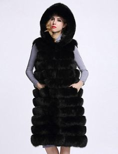 ab2cf321210 Asatr Women Hooded Faux Fur Vest Waistcoat Sleeveless Jacket at Amazon Women s  Coats Shop