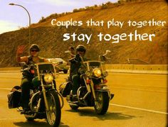We see more and more couples ride together nowdays, are you a couple that rides together? Funny Motorcycle, Motorcycle Wheels, Motorcycle Quotes, Harley Davidson, Bike Humor, Biker Love, Biker Quotes, Lady Biker, Biker Girl