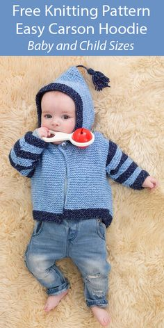 Easy Baby Knitting Patterns - In the Loop Knitting Easy Baby Knitting Patterns, Baby Knitting Free, Baby Sweater Knitting Pattern, Knit Baby Sweaters, Knitting For Kids, Baby Boy Vest, Lion Brand, Baby Outfits Newborn, Garter Stitch