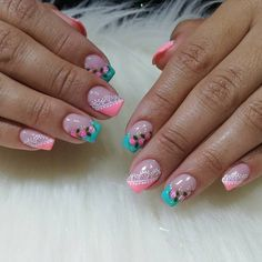 Little Girl Nails, Girls Nails, Cute Acrylic Nails, Cute Nails, Beauty Spa, Hair Beauty, Purple And Pink Nails, Cute Nail Designs, Nail Care