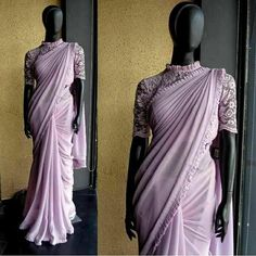 DS 47 391 Subtle lavender sari with a pleated border. Price - INR 6800 Shipping worldwide. Fabric - Malai Georgette. Blouse - Lace Net, Innerskirt - Satin. *Custom made outfit. Can be made in any color of choice. For price, orders & other information DM or Whats App on +91 9930089059 Happy Shopping :) Regards, The DRESS SHOP Team. fabtagsale.com