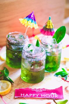 Iced mint juleps for Happy Hour