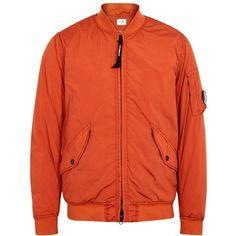 C.P. Company Orange Shell Bomber Jacket - Size 38 ($600) ❤ liked on Polyvore featuring men's fashion, men's clothing, men's outerwear, men's jackets, mens shell jacket, mens zipper jacket, mens padded jacket, mens zip jacket and mens padded bomber jacket