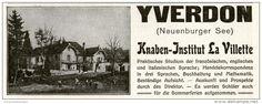 Original-Werbung/Inserat/ Anzeige 1911 - YVERDON / KNABEN-INSTITUT LA VILLETTE - ca. 45 x 110 mm