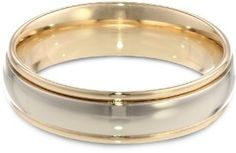 Men's 14k Gold Two-Tone 6mm Comfort Fit Plain Wedding Band
