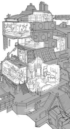 "More cool line drawings from FZD students (term Students have to design a building, it's ""regular"" interior and a ""hidden"" room. Environment Sketch, Environment Design, Sci Fi City, Perspective Drawing, Fantasy Map, Interior Concept, Environmental Art, Cyberpunk, Design Reference"