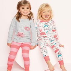Buy Cat Snuggle Fit Pyjamas Two Pack from the Next UK online shop Girls Fashion Clothes, Little Girl Fashion, Fashion Kids, Kids Nightwear, Girls Sleepwear, Baby Girl Pajamas, Crochet Toddler, Baby Girl Winter, Kind Mode