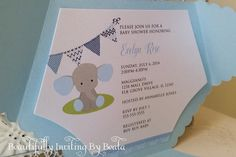Polka dots and elephants - dont they say C U T E?? Such a darling theme to shower the mommy to be!  $2.50 Base price includes: *Diaper Cover in Metallic Light Blue {approx 6.25W x 4.5H} *Inside Mat printed on White Metallic card stock {approx 5.75 x 4H} *Inside mat professionally printed *Smooth white blank A6 envelope {non metallic} -----------------  Dazzle your posh invitation with: * Double faced satin ribbon (.60 each) * 2 circle tag - shown with baby elephant graphic and baby shower…
