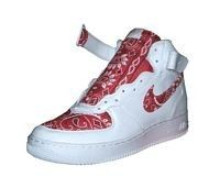 Custom Bandana Nike Air Force One Shoes Mid White/Red... review at Kaboodle