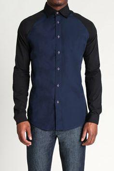 Edgar Solid Contrast Raglan Shirt - MG Black Label - Shirts : JackThreads