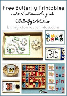 Long list of free butterfly printables plus ideas for using free printables to create Montessori-inspired butterfly activities