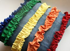 HUNGRYHIPPIE: Recycled Patchwork Pillow with Rainbow Ruffles