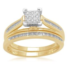 10k Yellow Gold Diamond Square Center Bridal Ring Set (1/7 cttw, I-J Color, I2-I3 Clarity) $288.00