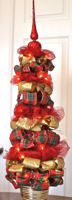 Ribbon Topiary in silver gold & white