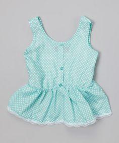 Another great find on #zulily! Frozen Aqua Polka Dot Ruffle Button-Up Tank - Toddler & Girls #zulilyfinds