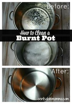 Using just 2 ingredients, check out to clean the burnt residue from a pot. I'm amazed at my results!
