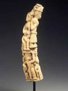 Africa |  Ivory Tusk Carving with Figures.  Cultures  Kongo (Vili subgroup); or Loango.  Dates: 19th century