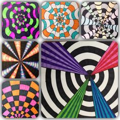 Optical illusion art ideas for grades 3-5. (Art above crested by Meredith Terry.)