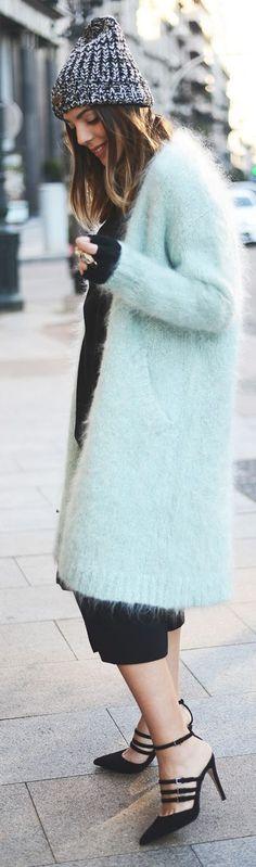 Mint Fuzzy Long Cardigan by The Fashion Through My Eyes