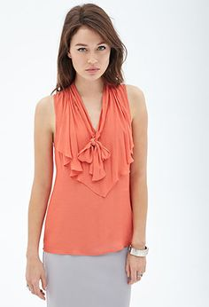 Bow-Front Woven Top | FOREVER 21 - 2000104385