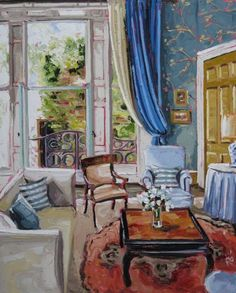 The Blue Room (Castle Leslie Collection) - by Roisin O'Farrell Beautiful Interiors, Colorful Interiors, Art Interiors, Building Art, Blue Rooms, Colorful Paintings, House Painting, Creative Inspiration, Room Interior